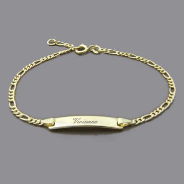 Baby Taufe Geburt ID Armkette mit Gravur Name Datum Uhrzeit Weiß Gold 750 18KT