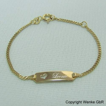 Namensarmband Gold Herz 16 cm 585/-Gold
