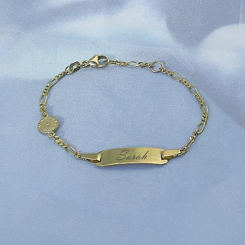 Kinderarmband Gold Figaro Geburtsuhr Taufuhr 14513 Cm 333 Gold Inkl Gravur